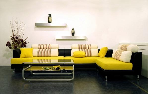 Желтый, белый и черные цвета в интерьере