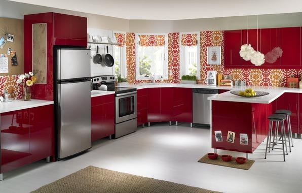 Сочетание красного и белого в квартире