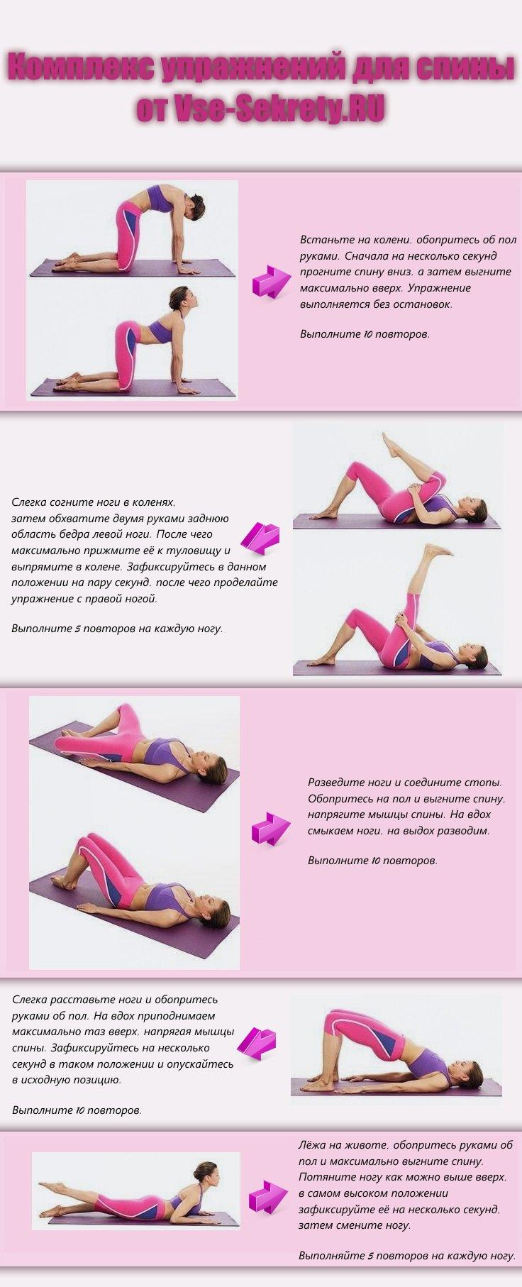 Упражнения для похудения спины в домашних условиях