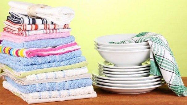 Кухонные полотенца после стирки с применением подручных средств