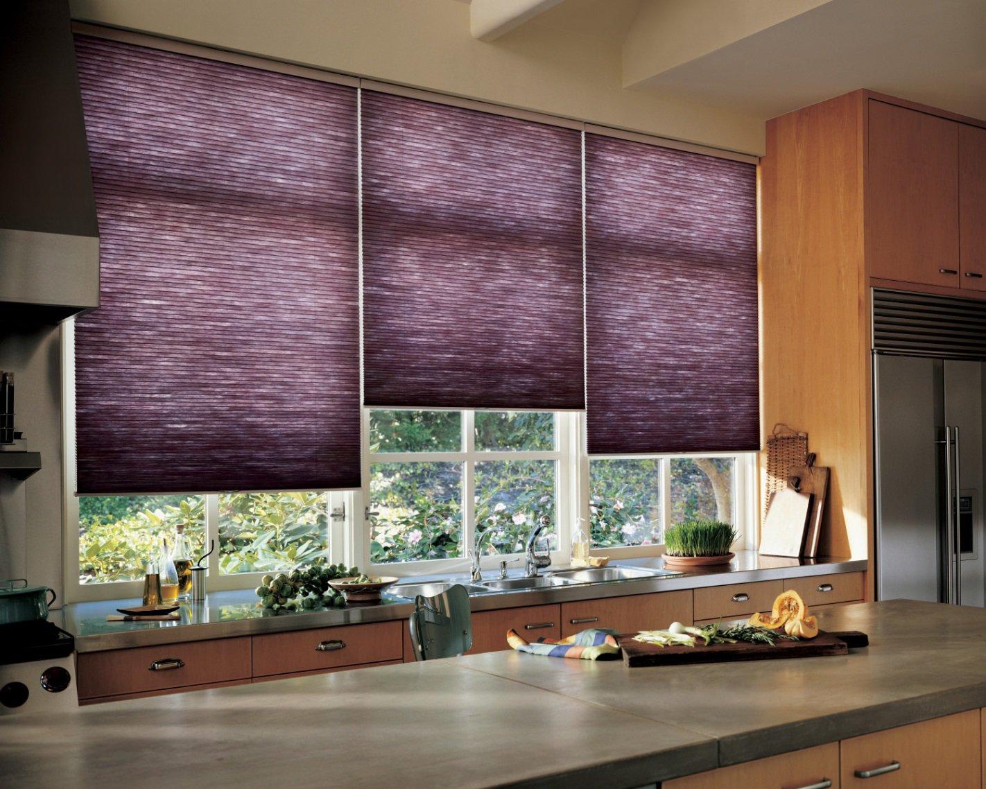 Рулонные шторы на кухне в интерьере фото