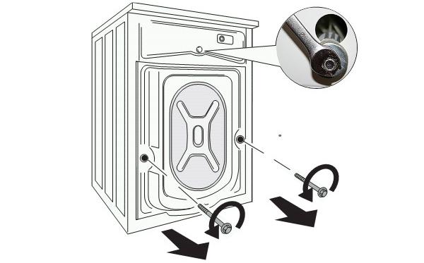 Снятие транспортировочных болтов стиральной машины