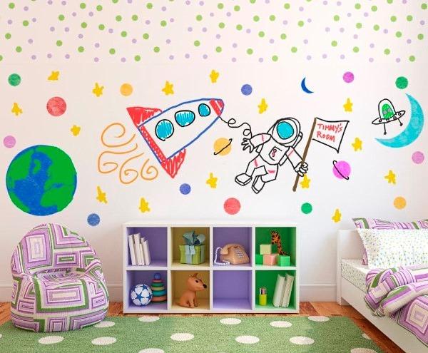 Украшение детской рисунком на стене