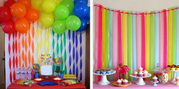 Праздничное украшение детской комнаты лентами