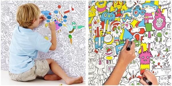 Обои-раскраска для детской комнаты