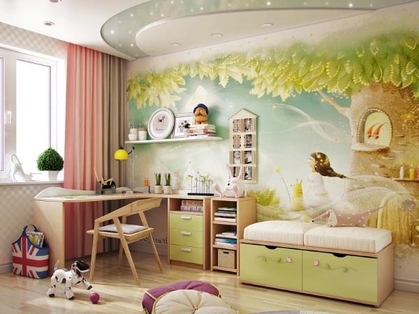 Роспись стен в детской комнате девочки