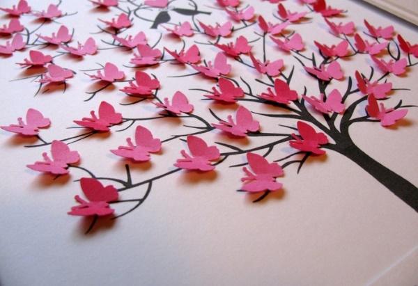 Украшение комнаты девочки объемными бабочками