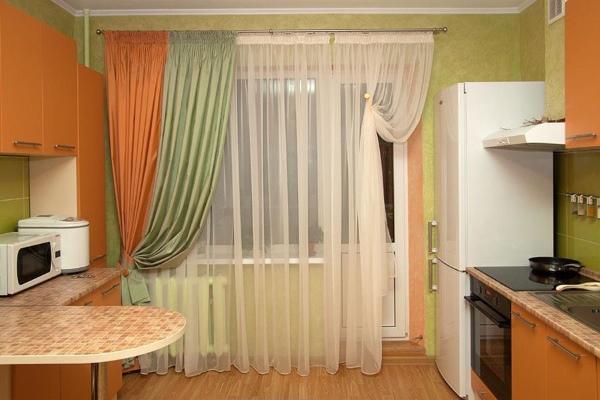 Тюль и шторы на кухню (в пол)